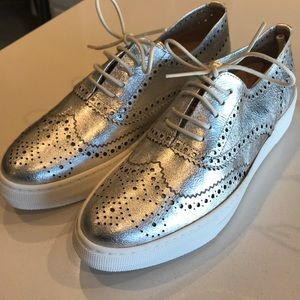 Shelly's London silver leather Kimmie oxford
